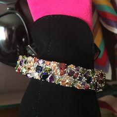 Spotted while shopping on Poshmark: This gorgeous silver bangle multi stones 💋💐! #poshmark #fashion #shopping #style #Jewelry