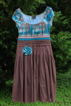 Teal TieDye and Brown Peasant Dress  Upcycled by UpTickChic, $32.00