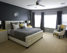 My dream bedroom colors  Yellow & Gray! Can't wait to do this in our new home