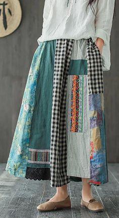 Asymmetrical Print Casual 100% Linen A-line Skirt ( Limited Stock) Wide Leg Linen Pants, Wide Leg Denim, Ropa Shabby Chic, Long Sleeve Floral Dress, Sewing Clothes, Printed Skirts, Refashion, A Line Skirts, Cotton Dresses