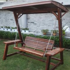 Wooden Garden Gazebo, Outdoor Wooden Swing, Wooden Swings, Outdoor Pergola, Porch Swing With Stand, Diy Arbour, Garden Swing Seat, Backyard Swings, Outdoor Play Areas
