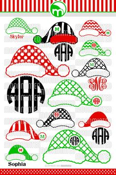 Christmas Santa Claus Hats SVG Cut Files Monogram by MoonMinted