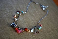 Gemstone Chain Necklace Boho  Dangling  Wire Wrapped by letemendia