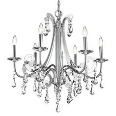 Glamour meets contemporary style in this 6 light chandelier from the Leanora Collection. Crystal faux drip catchers and pendalogue accents. So pretty, yet so sophisticated.