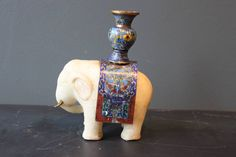 Chinese Marble Elephant with Cloisonne and Brass Tusks image 4