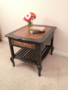 Annie Sloan Chalk painted end table in graphite by Furniture Alchemy; shabby chic furniture, painted furniture ideas, chalk painted table