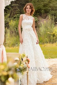 Elegant A-Line Wedding Dresses Lace Hand Made Flowers A-Line Wedding Dresses | Buy Wholesale On Line Direct from China