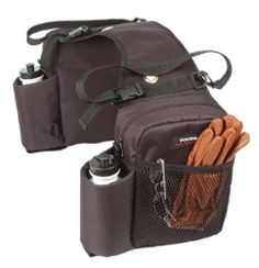 TOUGH 1 BROWN Trail Saddle BAG INSULATED Two Water Bottle Slots Horse Tack