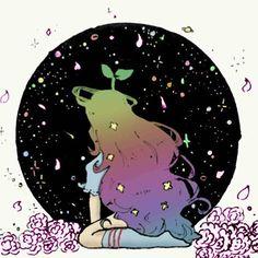 【gizer0】さんのInstagramをピンしています。 《Another coloring from @pixelatedpixel1  #inktober #doodleart #female #blackhair #greenshirt #blueeyes #stars #space #universe #ink #pixelatedpixel1 #pixelpal #darkskin #manga #anime #animegirl #halo #planets #flowers #pantyhose #girl #cherryblossoms #bluehair #camera #kitten #color #rainbowhair #rainbowcolor #pink #pinkflowers》