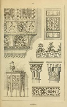 Elements of style in Arabian furniture and woodwork Turkish Architecture, Mughal Architecture, Architecture Drawings, Historical Architecture, Ancient Architecture, Islamic Art Pattern, Pattern Art, Islamic Art Calligraphy, Calligraphy Alphabet