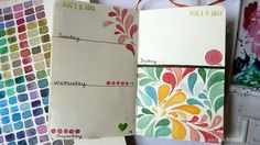 sketchbook journal - august     I love using a library datestamp... so unusual and beautiful!