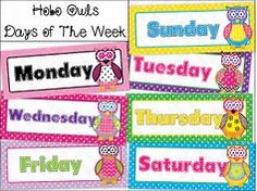 photograph about Days of the Week Printable titled printable times of the 7 days chart -
