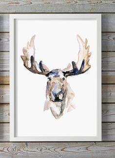 Moose Watercolor painting - Giclee art print - Moose painting Watercolour Animal Painting Antler aquarelle Zen painting