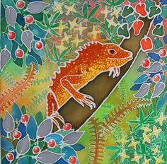 Lizard In a Tree  Original Painting on Silk by SarahWisemanArt, £289.00