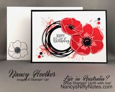 Painted Poppies by Stampin' Up! Peaceful Moments by Stampin' Up! Painted Poppies by Stampin' Up! Peaceful Moments by Stampin' Up! Happy Birthday Cards, Valentine Day Cards, Flower Birthday Cards, Birthday Card Design, Garden Cactus, Flowers Garden, Cactus Flower, Roses Pink, Tea Roses