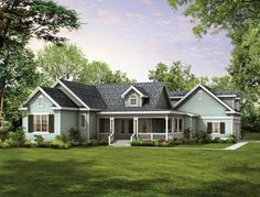 Gables, dormers, and an old-fashioned covered porch create a winsome country look. House Plan # 741032.