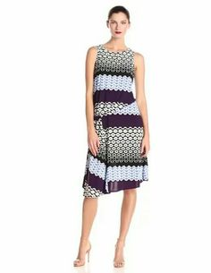 Donna Morgan Women's Sleeveless Asymmetric Printed Dress  $15.6 back after successful application selected from 10Buck