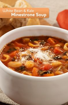 Our White Bean and Kale Minestrone is a quick and easy recipe that is perfect for your Meatless Monday.