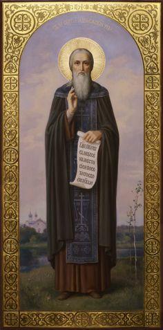 Икона Сергия Радонежского в академическом стиле