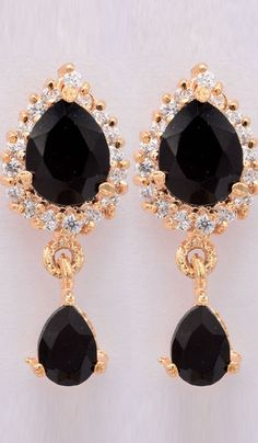 #WeddingEarrings - Stone Studded Earrings With Gold Finish Costs Rs. 613. #Jewellery. BUY it here: http://www.artisangilt.com/stone-studded-earrings-with-gold-finish-35661.html?ref=pin
