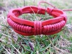 Cuff Bracelet Made With Red Leather and Ropes 57A by accessory365, $3.00