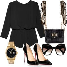 jumpsuit by stanislavajur on Polyvore featuring Helmut Lang, Christian Louboutin, Rolex and Prada