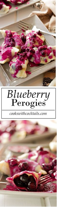 Homemade Blueberry Perogies with Blueberry Sour Cream Sauce (Baking Dinner Sour Cream) Köstliche Desserts, Delicious Desserts, Dessert Recipes, Yummy Food, Delicious Dishes, Recipes Dinner, Ukrainian Recipes, Russian Recipes, Ukrainian Food