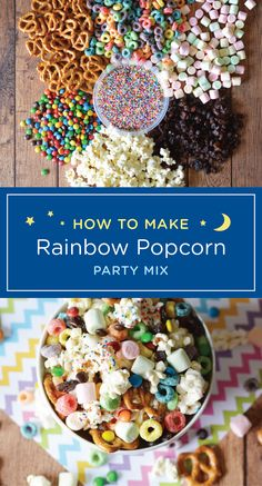 Whether it's for a kid's birthday party or a movie night snack, this DIY rainbow popcorn party mix i Sleepover Snacks, Movie Night Snacks, Birthday Party Snacks, Snacks Für Party, Kids Birthday Treats, Birthday Diy, Dry Snacks, Popcorn Snacks, Popcorn Recipes