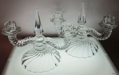 Fostoria Colony Duo Candlestick Pair 2412 Spearhead Crystal Holder Elegant #Fostoria