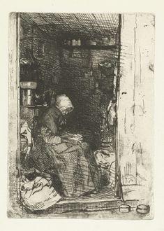 James Abbott McNeill Whistler   De voddenvrouw, James Abbott McNeill Whistler, 1858   Een oudere vrouw, van de zijkant gezien, zittend in de deuropening van een kleine werkplaats van een lompenhandel. Op haar schoot en om haar heen liggen stukken stof.