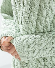 Cable Knit Sweater ~ Mint Green