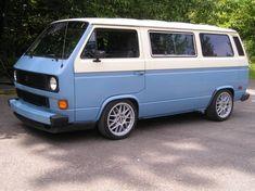 Beautiful lowered two-tone van.