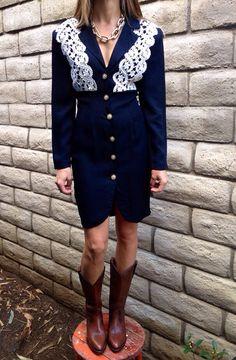 Vintage Knapp Studio of California Black and White Lace Dress--XS-S on Etsy, $26.00