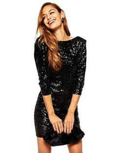 3/4 Sleeves Backless Sequins Bodycon Dress & Dresses $27