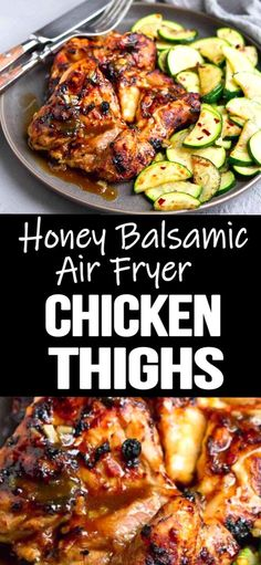 The glaze on these Honey Balsamic Air Fryer Chicken Thighs is to die for A quick and easy chicken recipe with tons of flavor 276 calories and 7 Weight Watchers SP Healthy Easy Boneless Recipes No Breading Gluten Free Air Fryer Recipes Chicken Thighs, Chicken Thigh Recipes Oven, Easy Chicken Recipes, Baked Chicken, Oven Chicken, Easy Recipes, Soup Recipes, Air Fryer Dinner Recipes, Air Fryer Recipes Easy