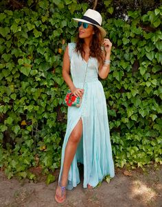 Turquoise maxi dress+ankle strap ethnic sandals+printed crossbody+white hat+bracelets. Summer outfit 2016