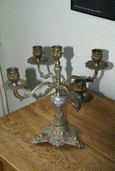 4 armige brons/zilveren kandelaar, geschikt voor 5 kaarsen.
