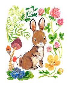 Look at this Bunny & Flowers Print on #zulily today!