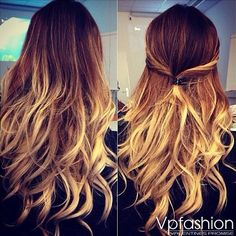 loose wavy ombre hairstyle brown to blonde omber hair color