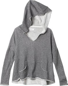 French terry pullover sweatshirt with slouch fit, oversized hood, and v-neckline.