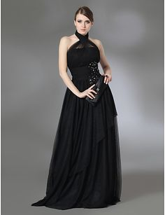 Prom/Military Ball/Formal Evening Dress - Black A-line/Princess Halter/High Neck Floor-length Stretch Satin/Tulle – CAD $ 111.19