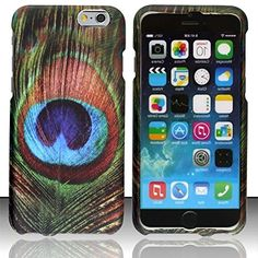 """myLife Blue, Green and Brown {Iridescent Peacock Feather Bird} 2 Piece Snap-On Rubberized Protective Faceplate Case for the NEW iPhone 6 (6G) 6th Generation Phone by Apple, 4.7"""" Screen Version """"All Ports Accessible"""" myLife Brand Products http://www.amazon.com/dp/B00U359B34/ref=cm_sw_r_pi_dp_ZDyhvb06BCRJD"""