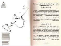 Autograph in the books, Southern Vampire Mysteries - Currently known as HBO's True Blood Series!