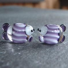 Two Purple Fishes Lampwork Beads   <3 <3