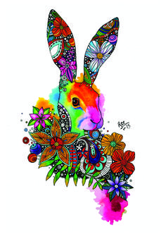 Hare with zentanlge pattern tattoo design…