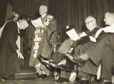 Die bekende digter en Bybelvertaler, Totius, oftewel prof. J.D. du Toit, was die eerste kanselier van die PU vir CHO en hy het die amp vanaf 1951 met die selfstandigwording van die universiteit tot in 1953 met sy afsterwe beklee. Hier ken hy grade toe in sy kanselierstoga tydens 'n latere gradeplegtigheid. My Land, Afrikaans, South Africa, History, Live, Historia