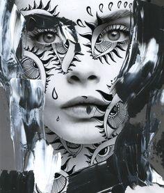Alana Dee Haynes - graphics on photos Conceptual Photography, Art Photography, Pattern Photography, Foto Face, Zentangle, L'art Du Portrait, Photo D Art, Draw On Photos, Art Et Illustration
