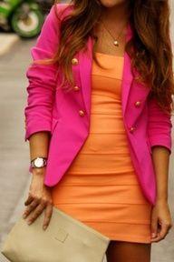 I love his blazer and mini dress color combo. Like rainbow sherbert