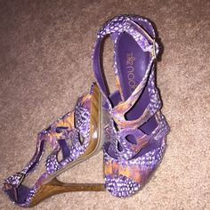 High heels Purple, white, mixed earth tones, worn once. Shoes Heels