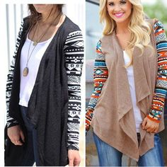 Bohemian Tribal Print Goth Hipster Long Sleeve Knitted Sweater Cardigan Coat Tops Jacket Outwear